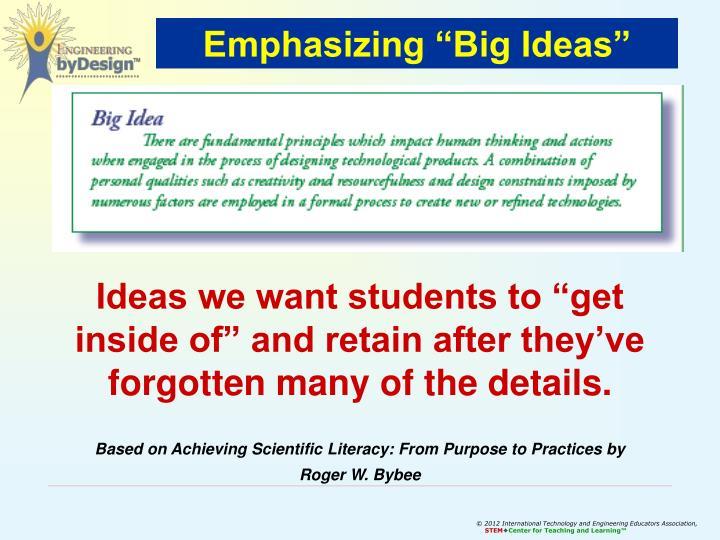 "Emphasizing ""Big Ideas"""