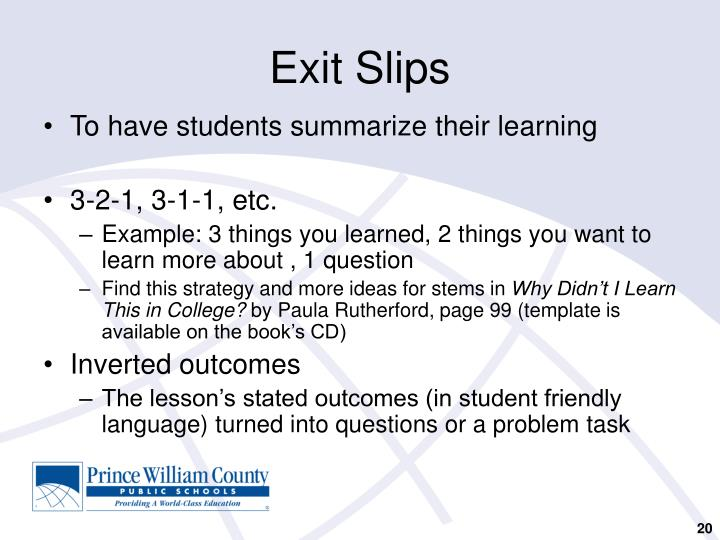 PPT - Formative Assessment: Checking for Understanding by All ...
