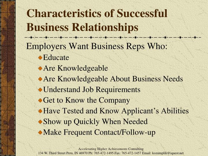 Characteristics of Successful Business Relationships