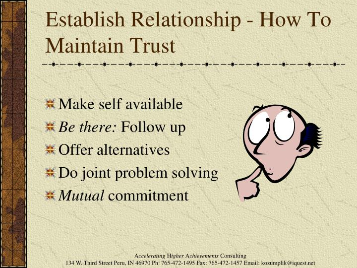 Establish Relationship - How To Maintain Trust