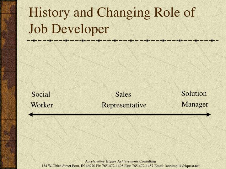 History and Changing Role of Job Developer