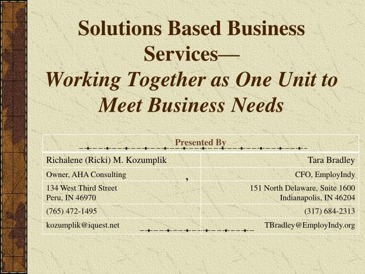 Solutions based business services working together as one unit to meet business needs