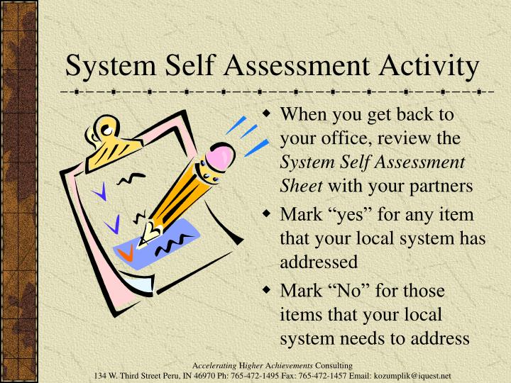 System Self Assessment Activity
