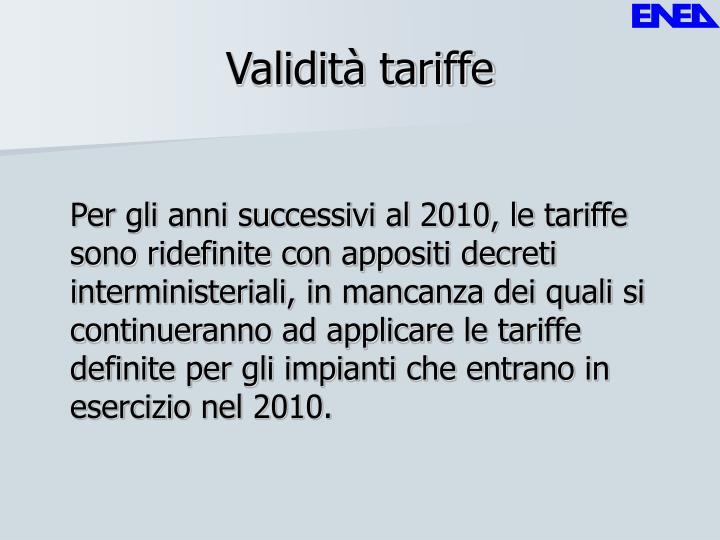 Validità tariffe