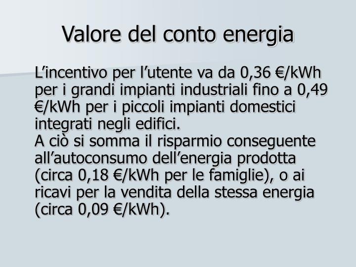 Valore del conto energia