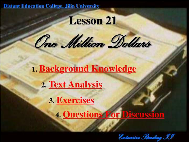 lesson 21 one million dollars n.