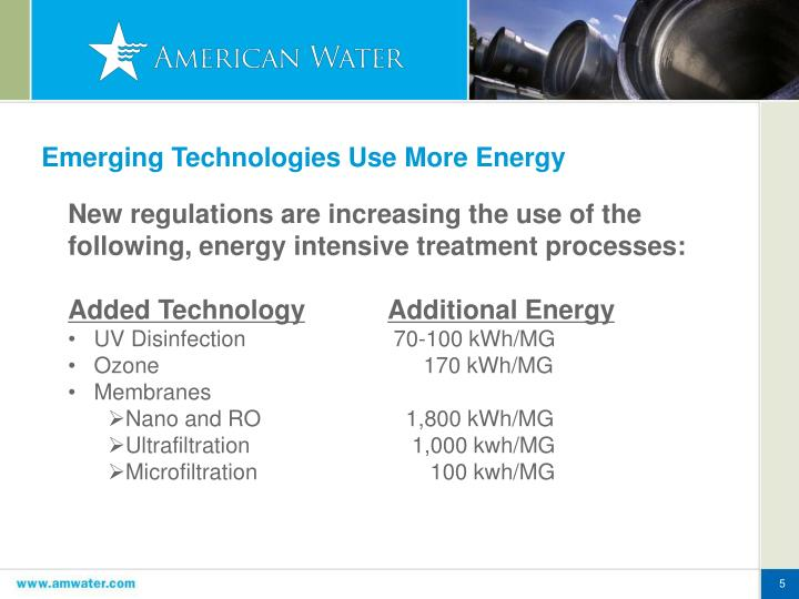 emerging technologies wireless energy Emerging technologies offer the potential for significantly higher energy efficiency in desalination or purification of wastewater, potentially reducing energy consumption by 50% or more techniques such as forward-osmosis can additionally improve efficiency by utilizing low-grade heat from thermal power production or renewable heat produced by.