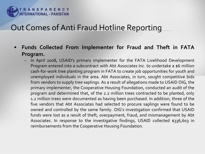 Out Comes of Anti Fraud Hotline Reporting