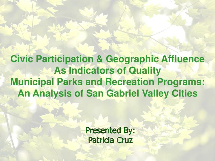 Civic Participation & Geographic Affluence