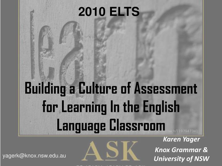 Building a culture of assessment for learning in the english language classroom