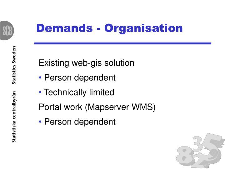 Demands - Organisation