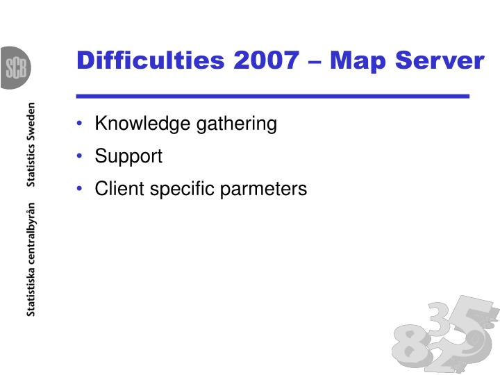 Difficulties 2007 – Map Server
