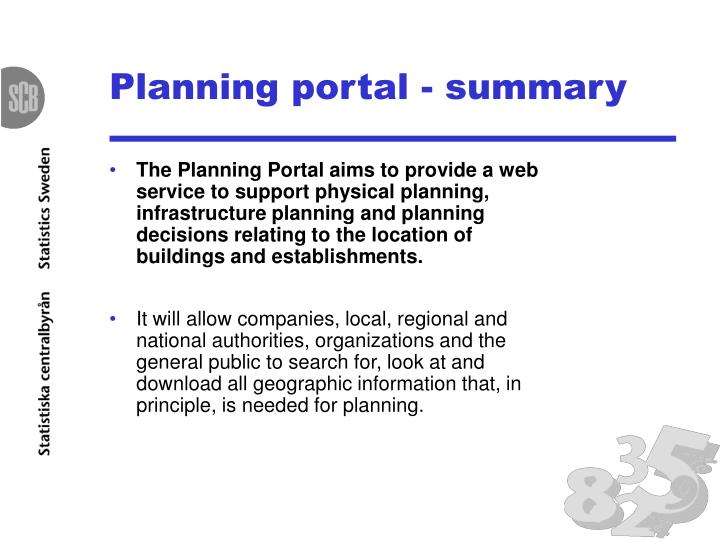 Planning portal summary
