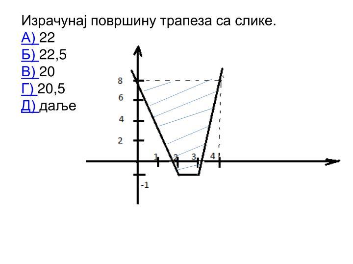 Израчунај површину трапеза са слике.