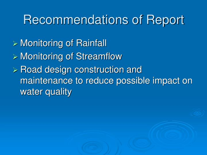 Recommendations of Report