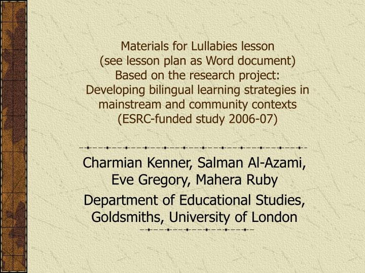 Materials for Lullabies lesson