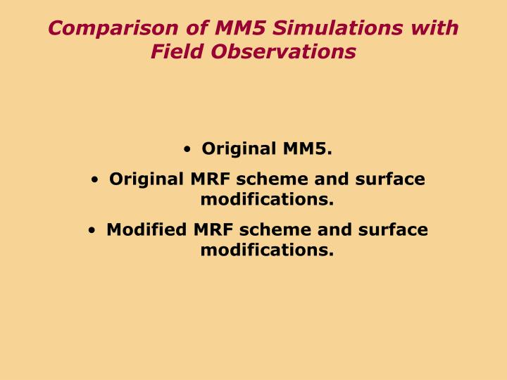 Comparison of MM5 Simulations with Field Observations