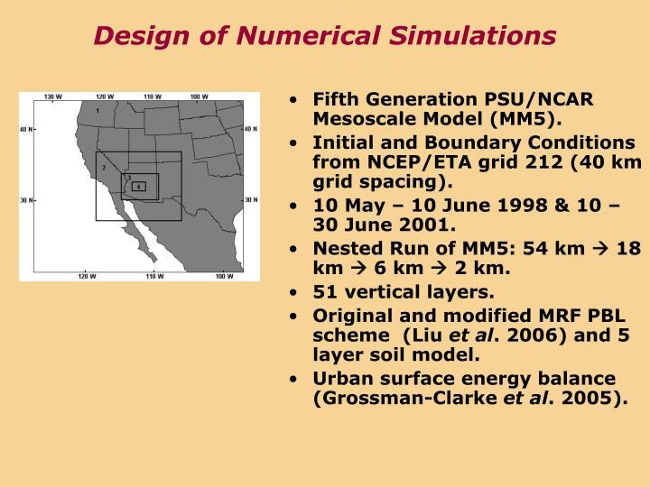 Design of Numerical Simulations