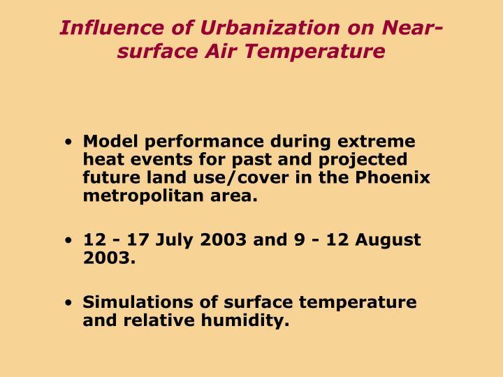 Influence of Urbanization on Near-surface Air Temperature