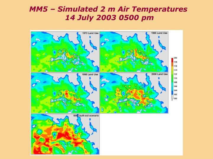 MM5 – Simulated 2 m Air Temperatures