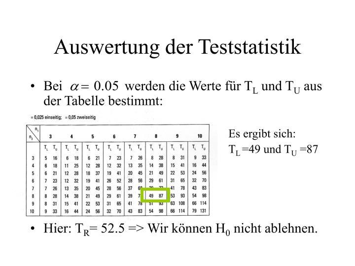 Auswertung der Teststatistik