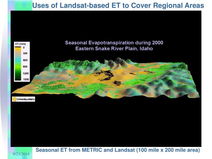 Uses of Landsat-based ET to Cover Regional Areas