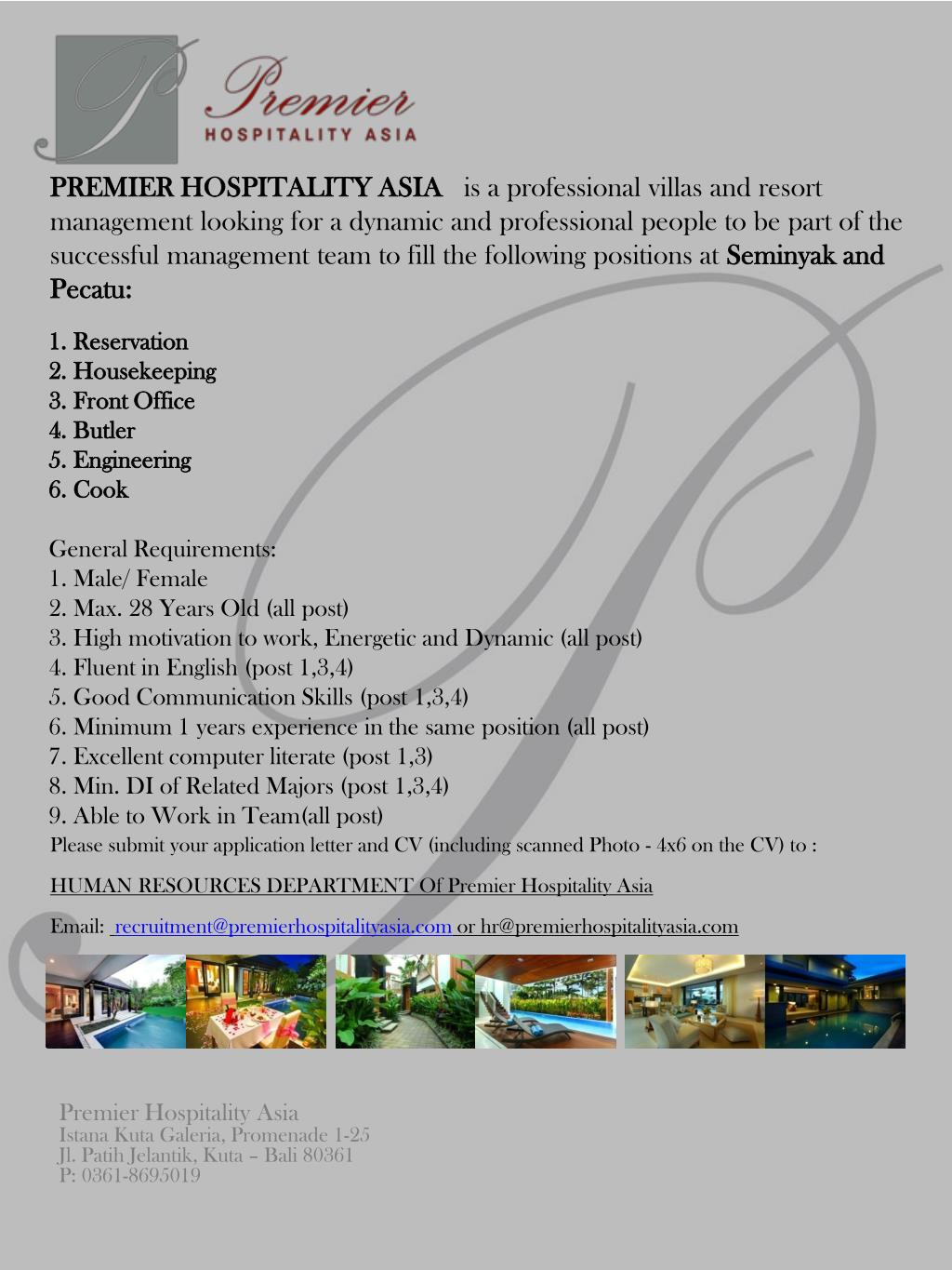 Ppt Reservation Housekeeping Front Office Butler Engineering Cook General Requirements Powerpoint Presentation Id 4722327