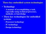 three key embedded system technologies