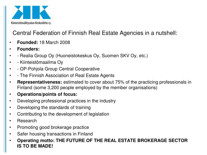 Central Federation of Finnish Real Estate Agencies in a nutshell: