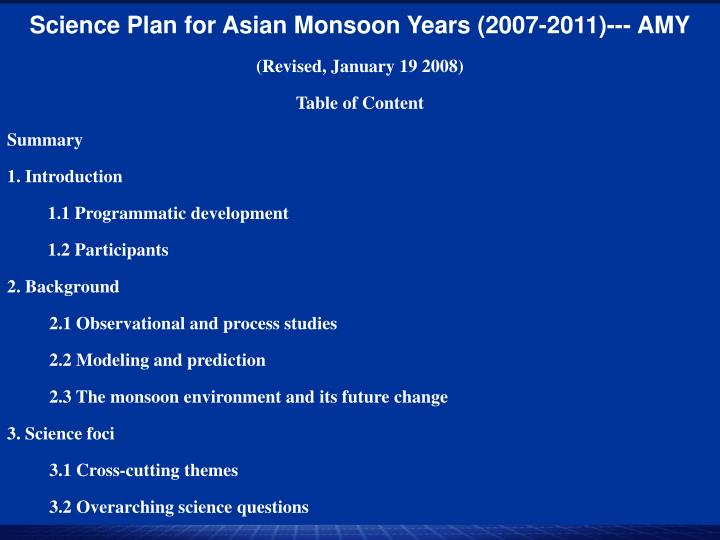 Science Plan for Asian Monsoon Years (2007-2011)--- AMY