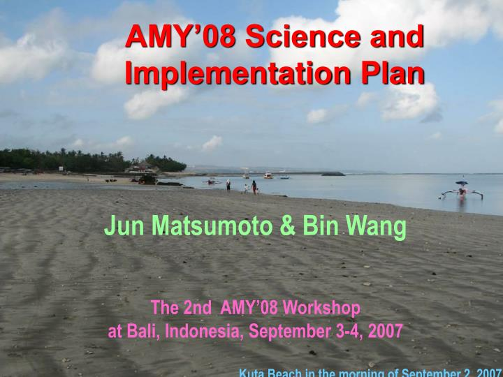 AMY'08 Science and Implementation Plan
