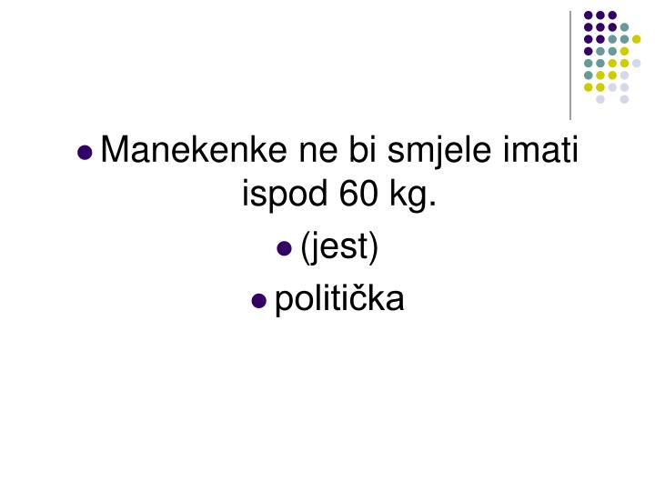 Manekenke ne bi smjele imati ispod 60 kg.