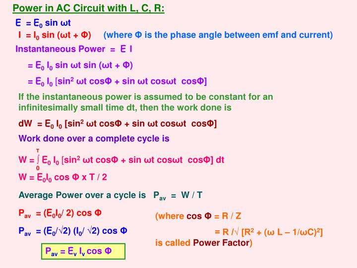 Power in AC Circuit with L, C, R: