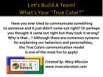 let s build a team what s your true color