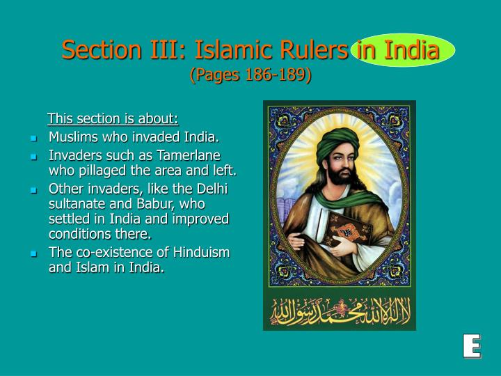 Section iii islamic rulers in india pages 186 189