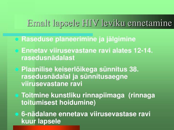 Emalt lapsele HIV leviku ennetamine