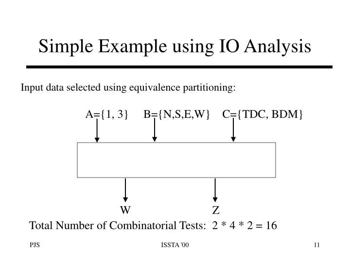 Simple Example using IO Analysis