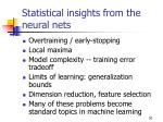 statistical insights from the neural nets