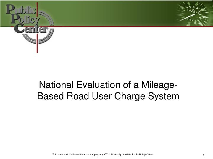 national evaluation of a mileage based road user charge system n.