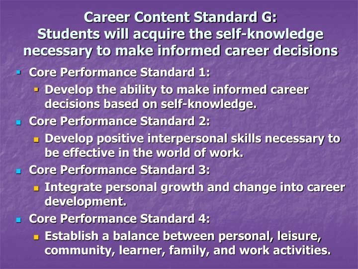 Career Content Standard G: