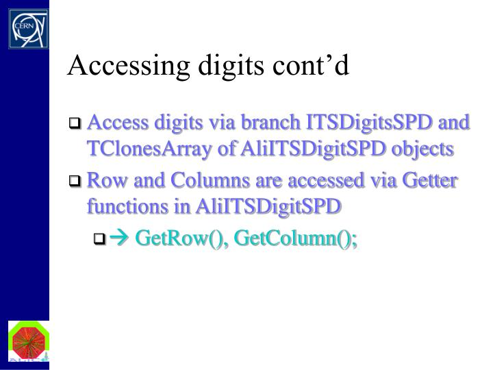 Accessing digits cont'd