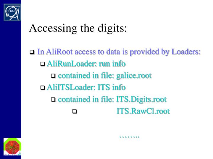 Accessing the digits: