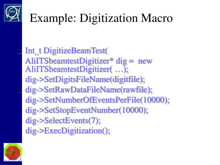 Example: Digitization Macro
