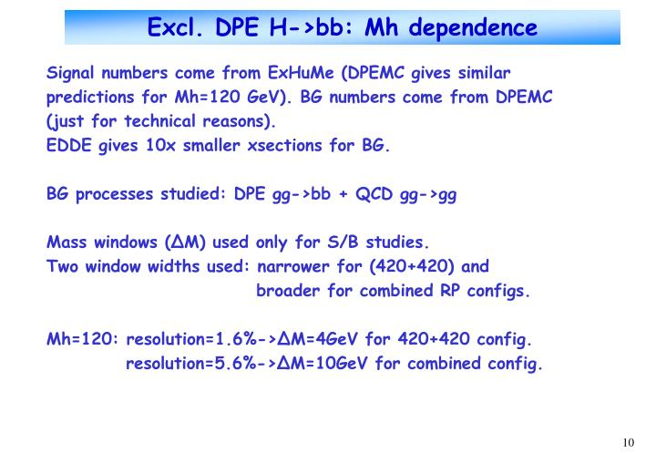 Excl. DPE H->bb: Mh dependence