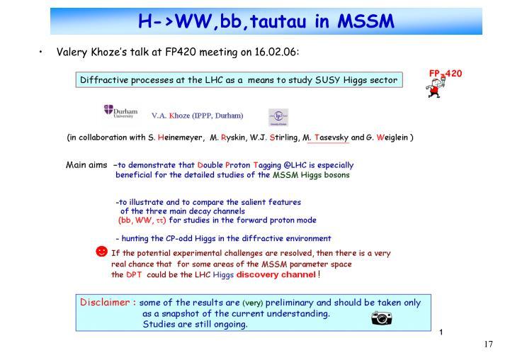 H->WW,bb,tautau in MSSM