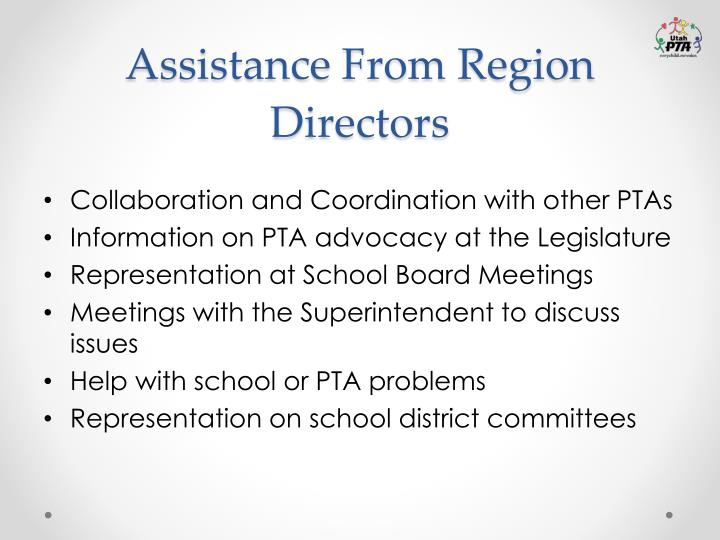 Assistance From Region Directors