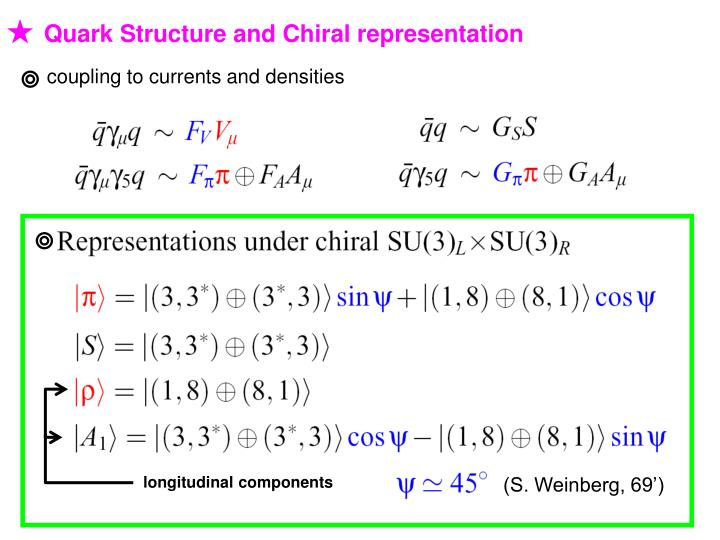 Quark Structure and Chiral representation
