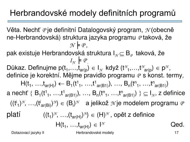 Herbrandovské modely definitních programů
