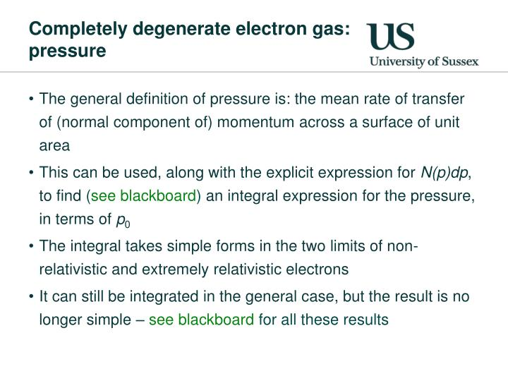 Completely degenerate electron gas: pressure