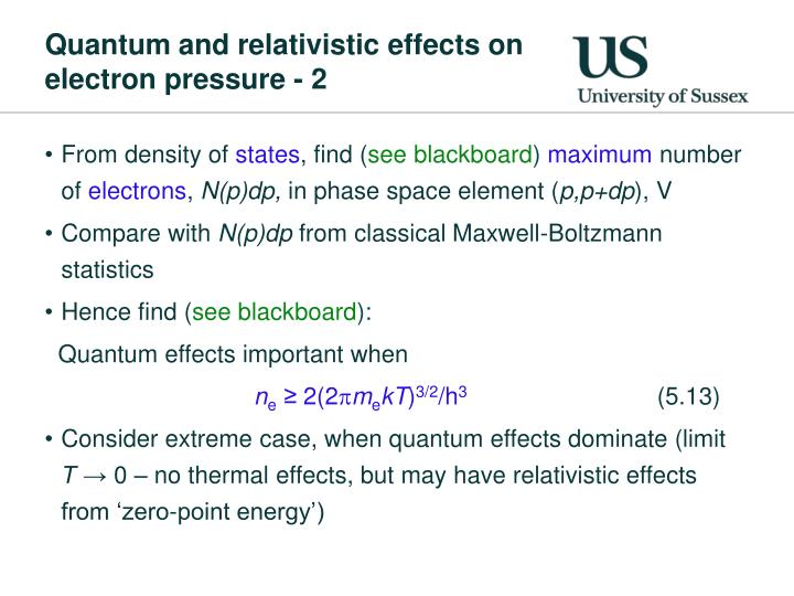 Quantum and relativistic effects on electron pressure - 2